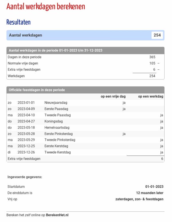 Aantal werkdagen berekenen