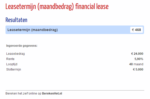 Leasetermijn (maandbedrag) financial lease