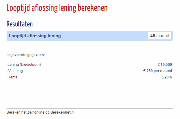 Looptijd aflossing lening berekenen