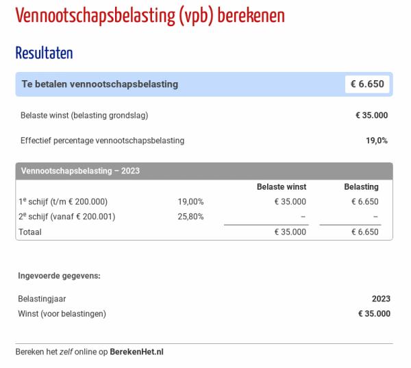 Vennootschapsbelasting (VPB) berekenen