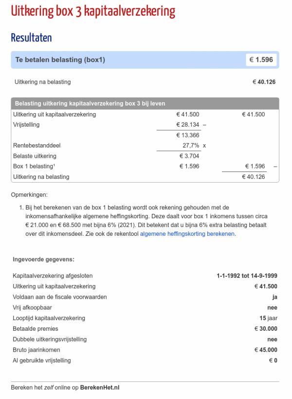 Uitkering box 3 kapitaalverzekering