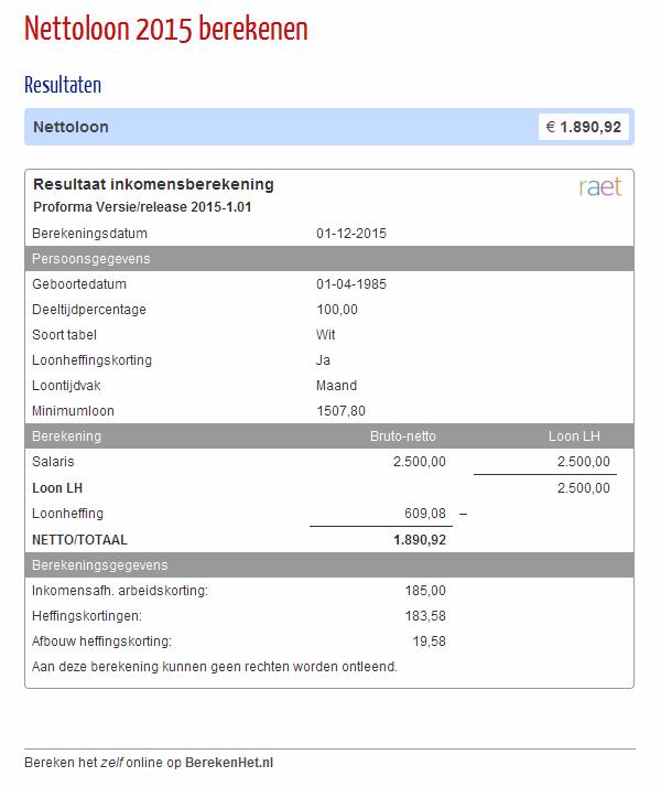 Nettoloon 2015 berekenen